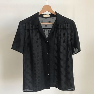 Vintage Sonia Lee Black Textured Bitton Down Top